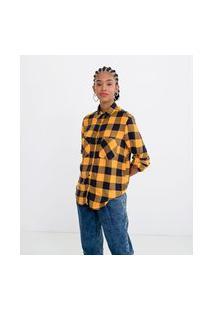 Camisa Manga Longa Estampa Xadrez Com Bolsos | Blue Steel | Amarelo | P