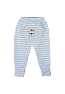 Calça De Bebê Com Pé Reversíve Bordado Listras Azul Claro Azul Claro