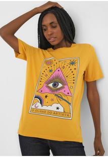 Camiseta Cantã£O Olhar Do Artista Amarela - Amarelo - Feminino - Algodã£O - Dafiti