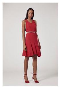 Vestido De Crepe Curto Recorte Vermelho Vermelho 181