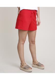 Short Feminino Cargo Com Cordão Vermelho