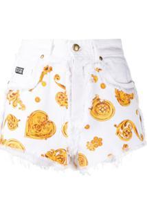 Versace Jeans Couture Short Jeans Com Estampa Barroca - Branco