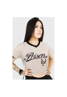 Camiseta Cropped Prison Ny Off- White
