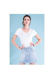 T-Shirt Ts0001 Decote V Slim Traymon Branco
