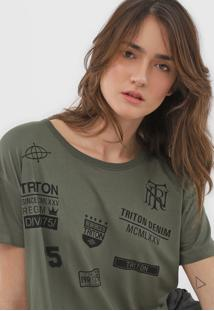 Camiseta Cropped Triton Estampada Verde - Kanui