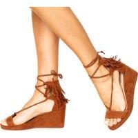 Dafiti. Sandália Dafiti Shoes Anabela Franja Caramelo 2995b083360