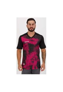 Camisa Ícone Sports Universe Preta E Rosa