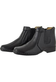 Bota Pessoni Boots & Shoes Social Lateral Em Elastico 100% Couro Preto - Kanui