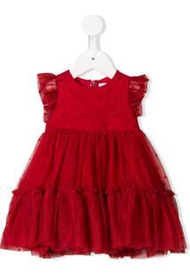 Monnalisa Vestido Com Babados De Tule - Vermelho