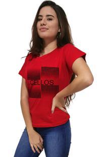 Camiseta Feminina Cellos Degrad㪠Premium Vermelho - Vermelho - Feminino - Dafiti