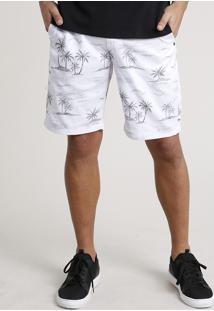 Bermuda Masculina Reta Estampada De Folhagens Branca