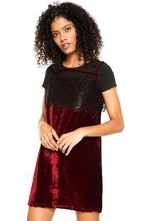 Vestido Slip Dress Fitwell Veludo Vinho