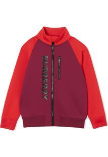Burberry Kids Blusa De Jersey Bicolor Com Logo Estampado - Roxo