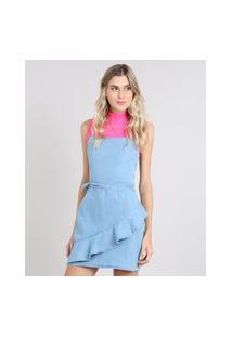 Vestido Jeans Feminino Curto Com Babado Alça Fina Azul Claro