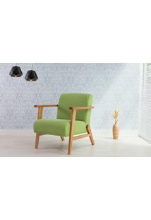 Poltrona Pequena Com Braços E Pés Palito Tecido Verde - Verniz Amendoa \ Tec.942 - Lótus 73X72X83 Cm