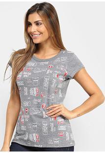 Camiseta Coca-Cola Pop Feminina - Feminino-Cinza