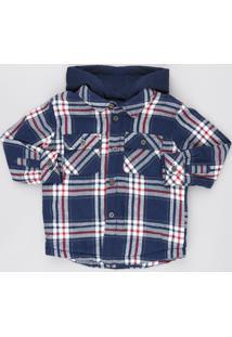 Jaqueta Infantil Acolchoada Estampada Xadrez Em Flanela Com Capuz Azul Marinho