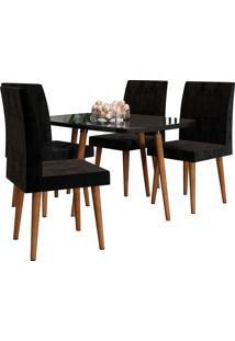 Conjunto De Mesa De Jantar Jade Preto 1,20X0,90 C/ 4 Cadeiras Rv Mã³Veis - Preto - Dafiti