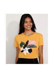 "Camiseta Feminina Manga Curta Calor Solar"" Flocada Decote Redondo Mostarda"""