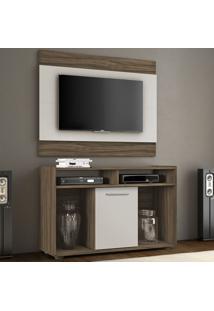 Rack Com Painel Para Tv Até 43 Polegadas Shows Nogal Trend/Off White - Notavel