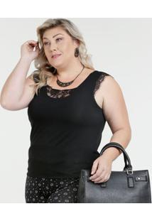 770941bf4 Regata Feminina Plus Size Renda Marisa