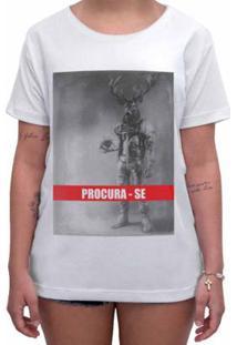Camiseta Impermanence Estampada Procura-Se Feminina - Feminino-Branco