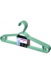Cabide Em Plástico Pendura Mais Verde Claro Com 6 Peças