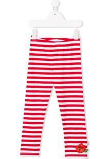 Monnalisa Striped Fitted Leggings - Branco
