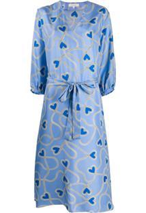 Chinti And Parker Vestido De Seda Com Estampa De Coração - Azul