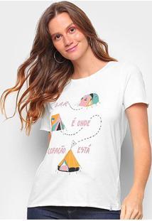 Camiseta T-Shirt Cantão Classic Barraco Feminina - Feminino-Off White