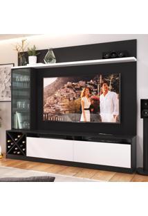 Estante Para Tv Até 65 Polegadas 3 Portas 2020 Ptx/Bac Preto/Branco - Quiditá Móveis