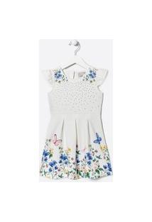 Vestido Infantil Estampa Floral Com Aplicações - Tam 5 A 14 Anos | Fuzarka (5 A 14 Anos) | Branco | 13-14