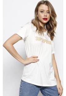 "Camiseta ""Superpriori"" - Off White & Bege Escuro - Fforum"