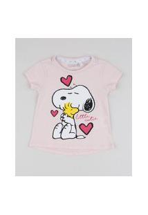 Blusa Infantil Snoopy Manga Curta Rosa Claro