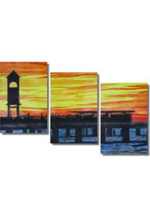 Quadropainel Decorativo Ponte Metalica Ao Por Do Sol Amarelo