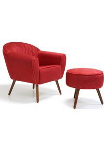 Poltrona Decorativa Com Puff Pés Palito Nina D02 Suede Vermelho Tressê D-173 - Lyam Decor