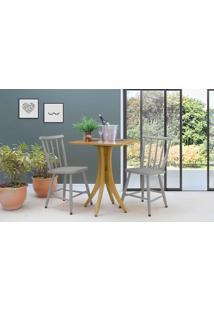 Mesa Com Duas Cadeiras Quadrada Juliette - Amêndoa E Cinza Concreto