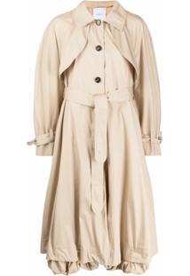 Patou Trench Coat Longo Com Cinto - Neutro