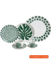 Aparelho De Jantar Com 42 Peças Palmeira Branco E Verde