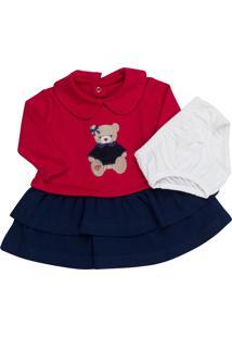 Vestido Coquelicot Manga Longa Com Calcinha Ursinha Vermelho E Marinho