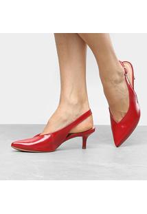 a7943a09a Scarpin Dakota Salto Médio Chanel Follow - Feminino-Vermelho