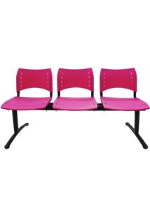 Cadeira Longarina 3 Lugares Rosa Evidence Executiva