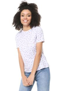 Camiseta Fiveblu Poá Branca/Lilás