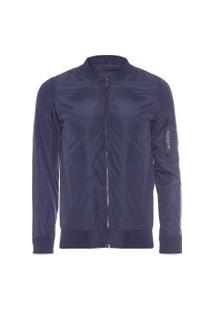 Casaco Masculino Thin Nylon Ribboned Sleeve Bomber Jacket - Azul