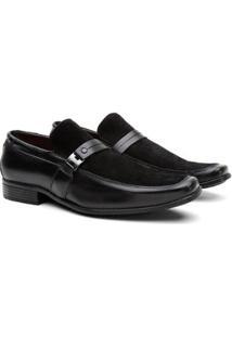 Sapato Social Hshoes Couro Fivela Com Camurça Conforto Masculino - Masculino-Preto