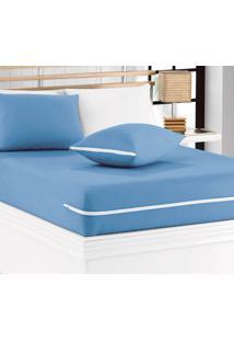 Capa De Colchão Mascali Solteiro Azul Com 1 Peças Em Algodão - Sina Enxovais