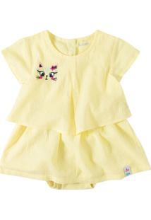 Vestido Em Tricoline Com Bordado Menina Zig Zig Zaa Amarelo - 2