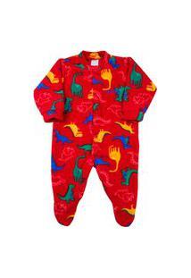 Macacáo Pijama Bebê Ano Zero Microsoft Estampado 21 - Vermelho