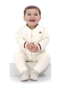 Conjunto Jaqueta E Calça Matelassê Bebê Up Baby Feminino - Feminino-Bege