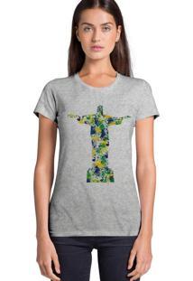 Camiseta Joss Feminina Aquarela Cristo Cinza